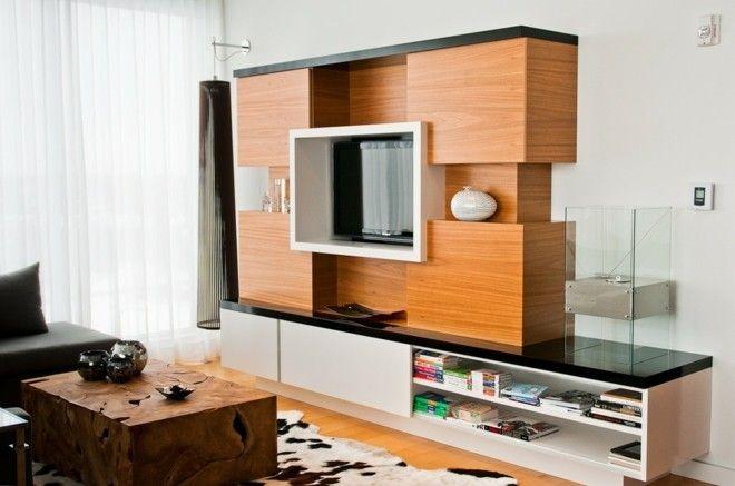 wohnzimmer-gestalten-ideen-holz-hochglanz-tv-stander-mobel