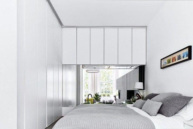 kleines-schlafzimmer-modern-weise-einbaumobel