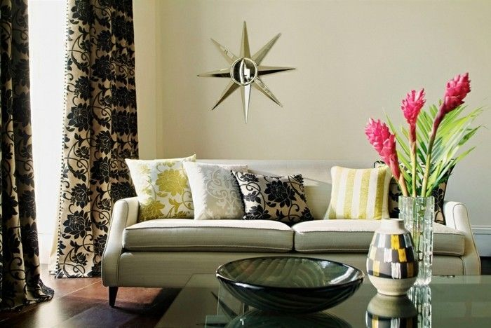 kreatives wohnzimmer mit mustermix