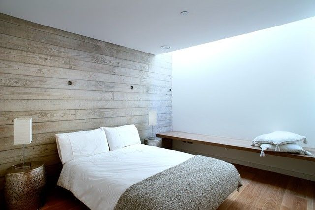 Minimalistisches Schlafzimmer Helle Wandpaneele Aus Holz
