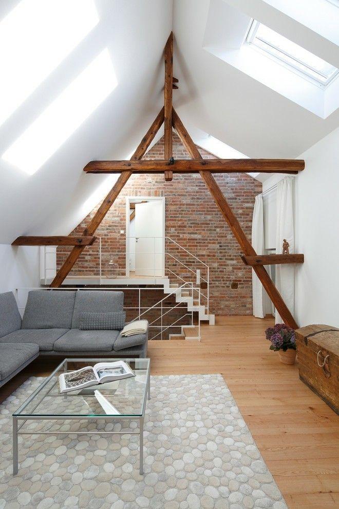 Modernes Loft Wohnzimmer Einrichten Yiegelwand Industriell Dachschrage