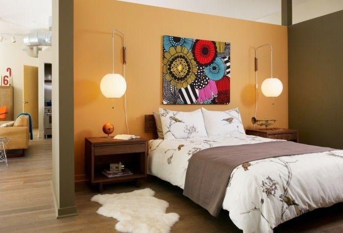 wandgestaltung-schlafzimmer-bett-originell