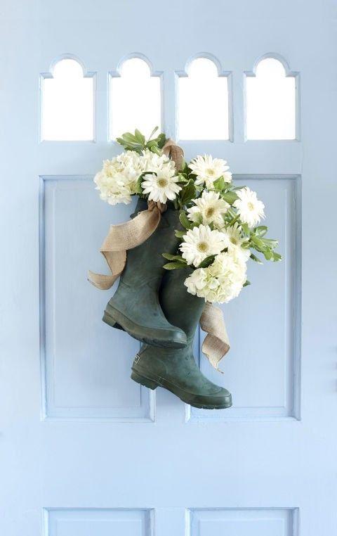 deko-tur-gummistiefel-weise-chrysantheme