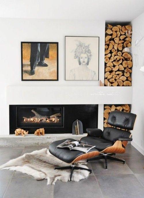 Einrichtung Mit Holzelementen Kaminholz Wand Ideen