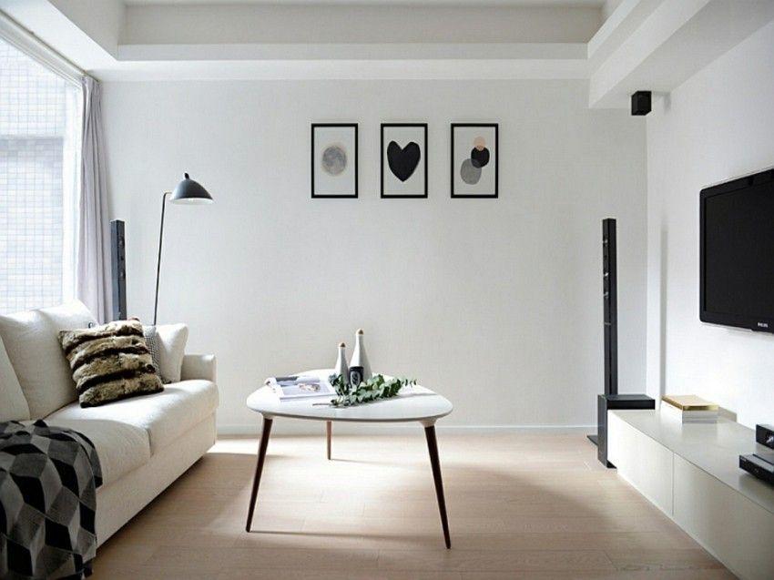 minimalistische-wohnzimmer-weis-tisch
