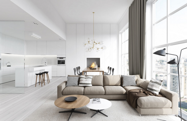 Klare Linien und coole Farben machen das moderne Wohnzimmer ...