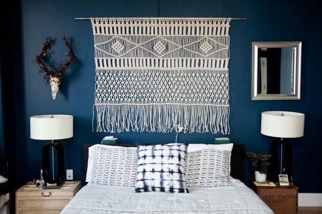 moderne-schlafzimmer-ideen-wanddeko-makramee-in-weis