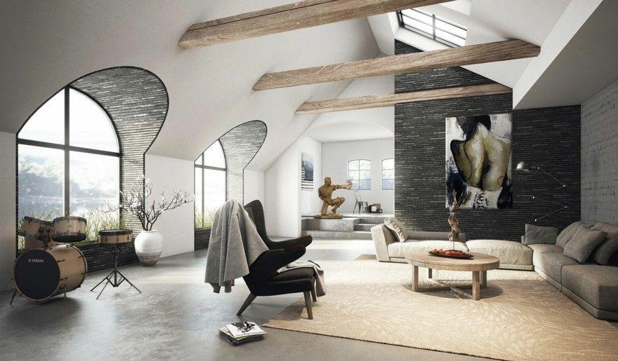 wohnideen-dach-wohnzimmer