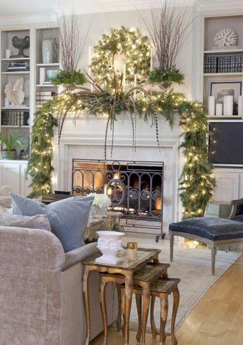 Kaminsims  Dekorieren Modernes Wohnzimmer Weihnachtslichter Girlanden Stumpfkerzen