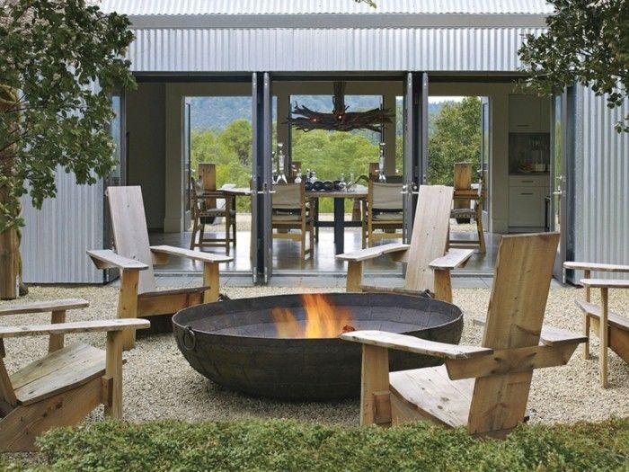 etwas ausgefallene ideen f r eine feuerstelle aus metall f r den au enbereich. Black Bedroom Furniture Sets. Home Design Ideas
