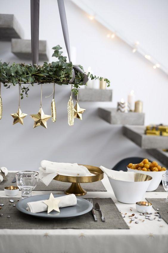 goldene-tischdeko-weihnachten-ideen