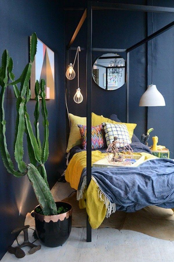schlafzimmer-modernes-schwarze-mobel