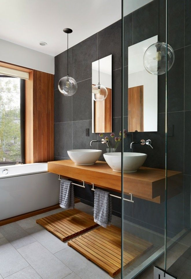 Badezimmer Fliesen Kleines Bad Ideen Holz Waschbecken