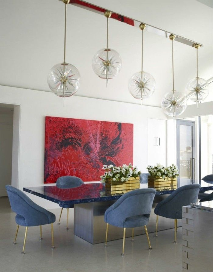 Modernes Esszimmer Eklektisches Interieur Tischdeko Blumen Moderne Esszimmer
