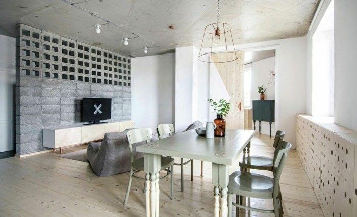 Modernes Esszimmer Rustikaler Essbereich Weises Ambiente Beton Akzente