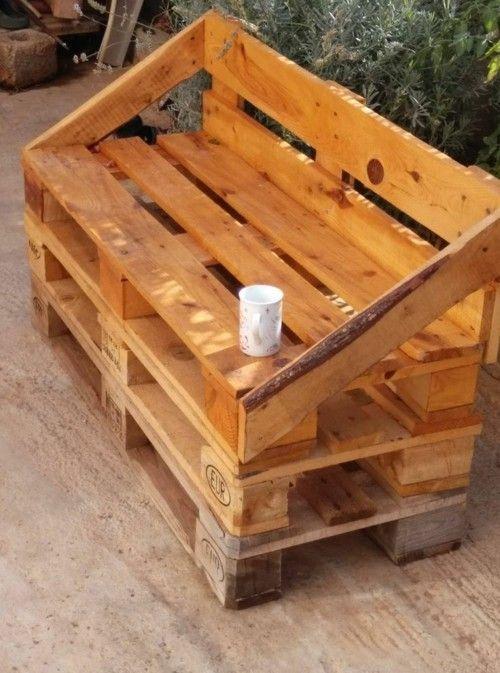 Gartenmöbel aus Paletten Sitzbank coole Idee
