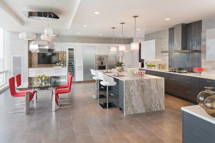 Kücheninsel Granit elegante Hocker weiß Essecke