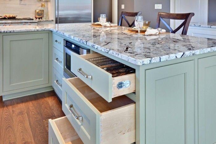 Kücheninsel L-förmig Granitplatte