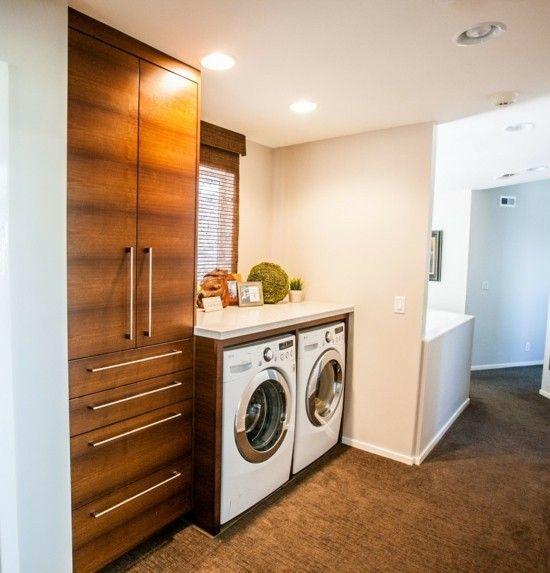 Moderne Waschküche holz