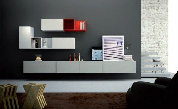 Tv Wande Wohnzimmermobel Modern. Modernes Wohnzimmermöbel Set Trendiges  Design In Weiß Und Grau Mit Roten Akzenten