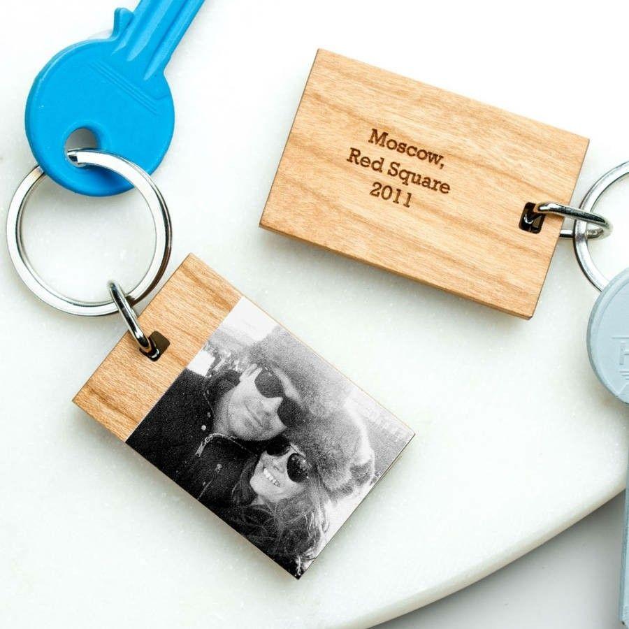 Valentinstag Geschenkideen Schlüsselring Fotoabdruck auf Holz