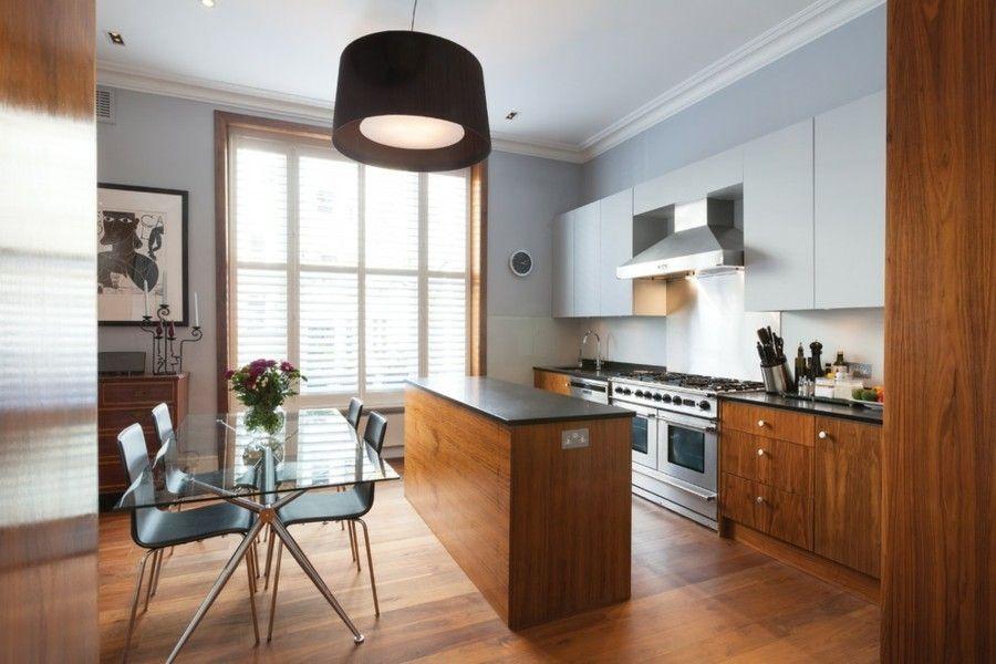küche wandgestaltung elegante kücheninsel