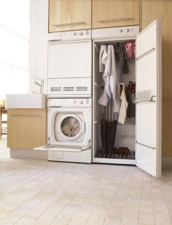 modern weiße-Waschküche-Design-Idee