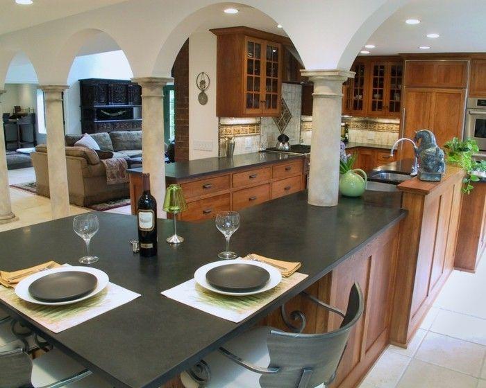 moderne Wohnküche Küchenarbeitsplatten Granit schwarz