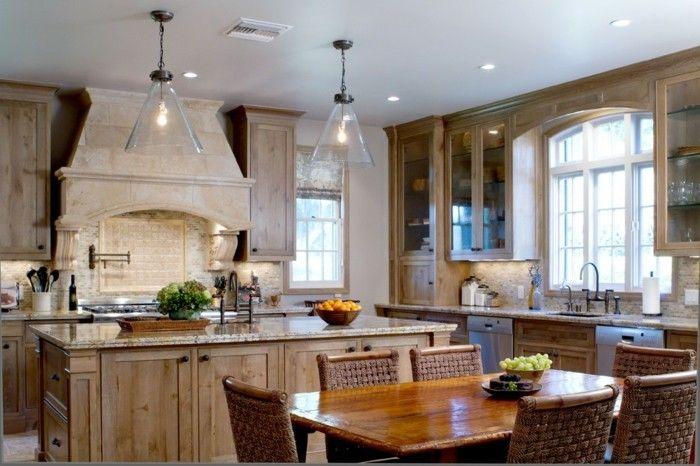 modernes Küchendesign Holz Granit Glas