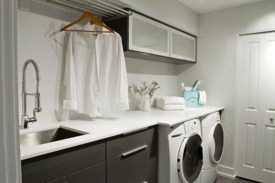 weiße Waschküche Innendekor idee
