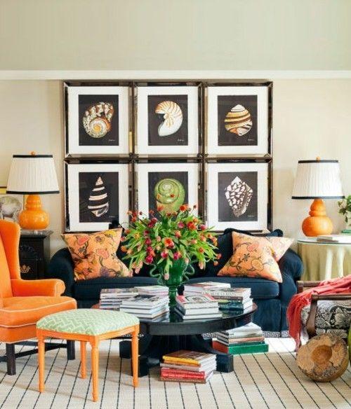 wohnzimmer eklektisches innendesign wand deko