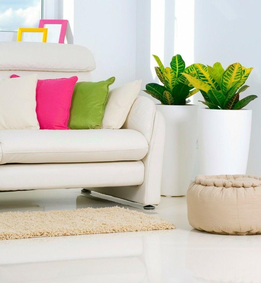 Bunte Deko Kissen und grüne Zimmerpflanzen-Wohnzimmer Ideen