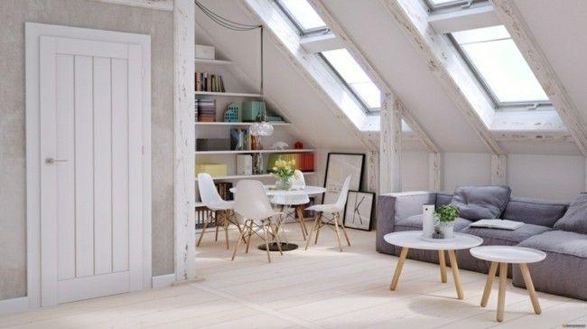 Wohnzimmer Mit Dachschräge Und Interessante Wandgestaltung: Wohnzimmer Auf Dem Dachboden