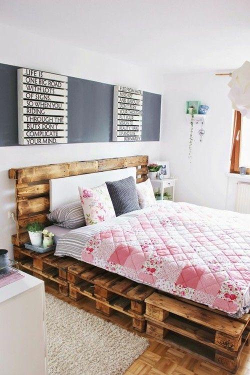 Möbel aus Paletten Schlafbett
