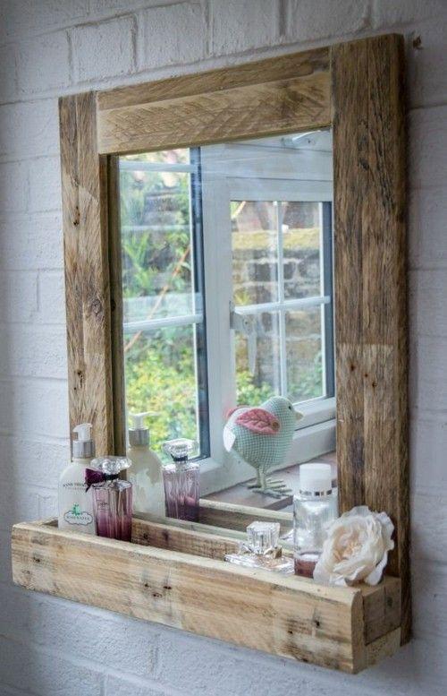Spiegel für das Bad mit Rahmen -palleten deko ideen