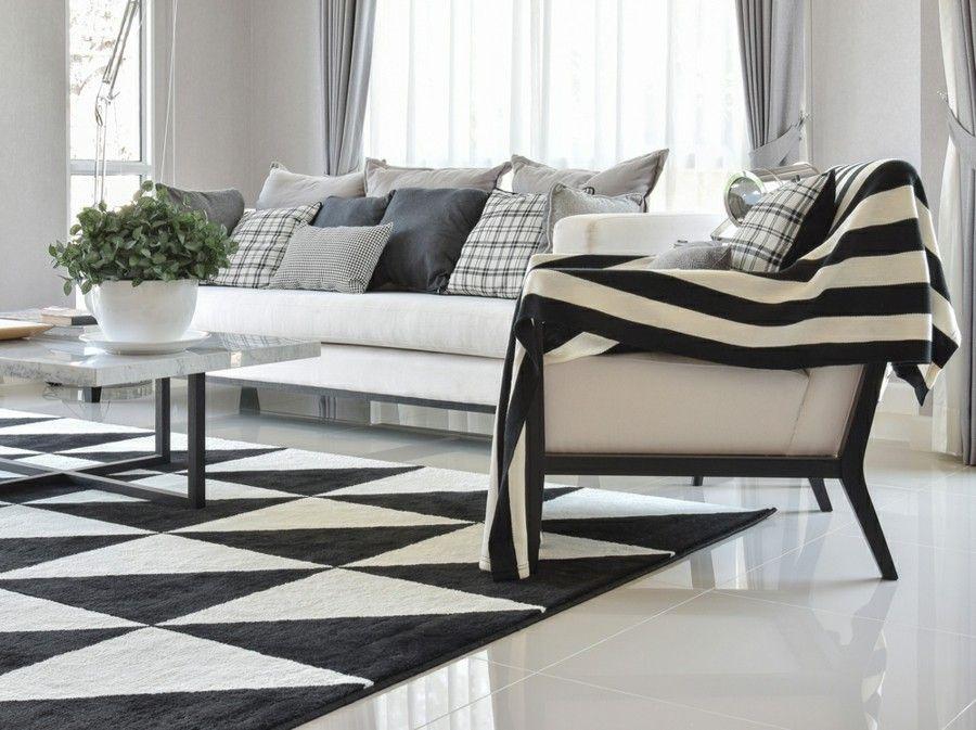 Wohnzimmer einrichten Ideen in Weiß Schwarz