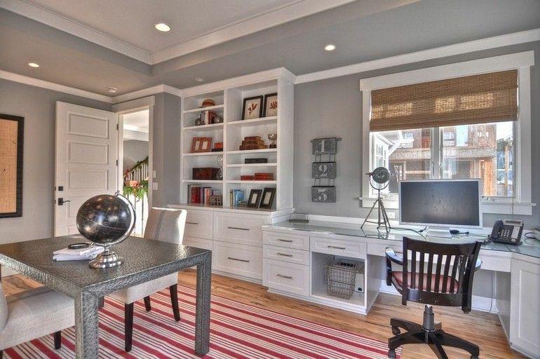 Arbeitszimmer wandgestaltung  Tolle Deko Ideen, wie Sie Farbe in Ihr graues Home Office ...