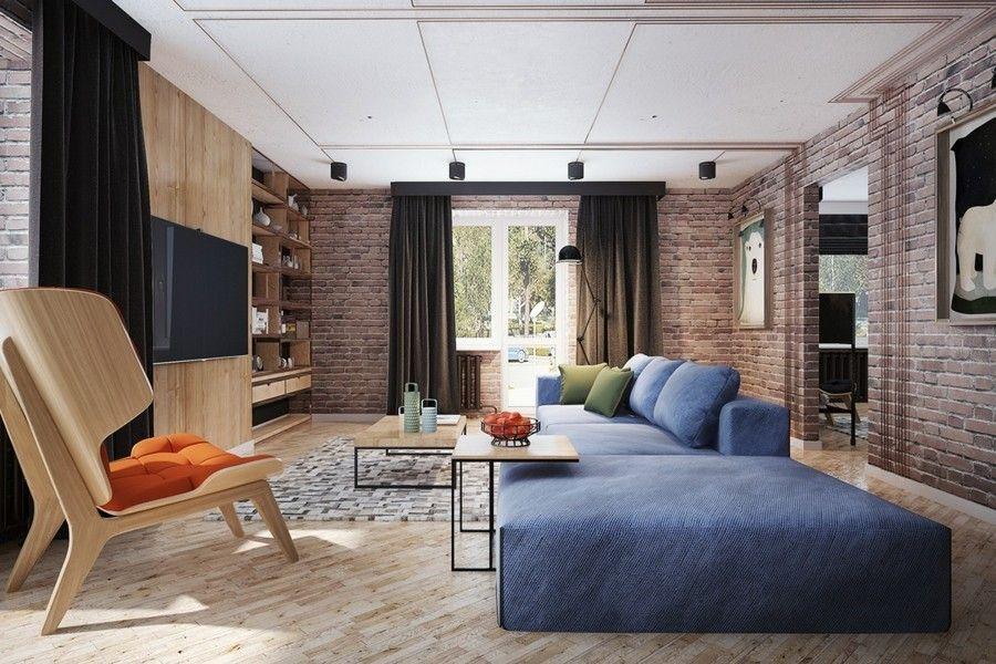 wohnzimmereinrichtung mit freigelegter ziegelwand. Black Bedroom Furniture Sets. Home Design Ideas