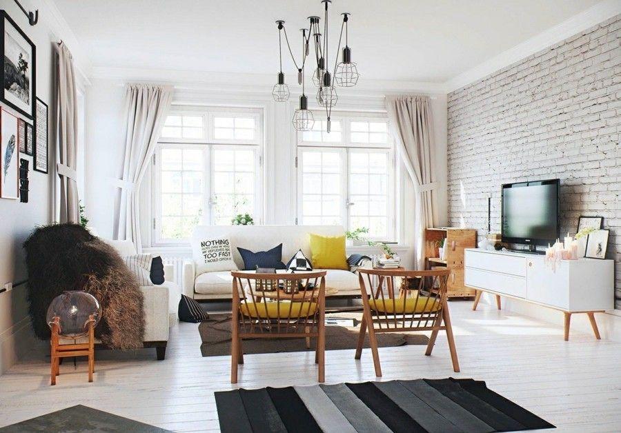 Wohnzimmereinrichtung mit freigelegter Ziegelwand - Trendomat.com
