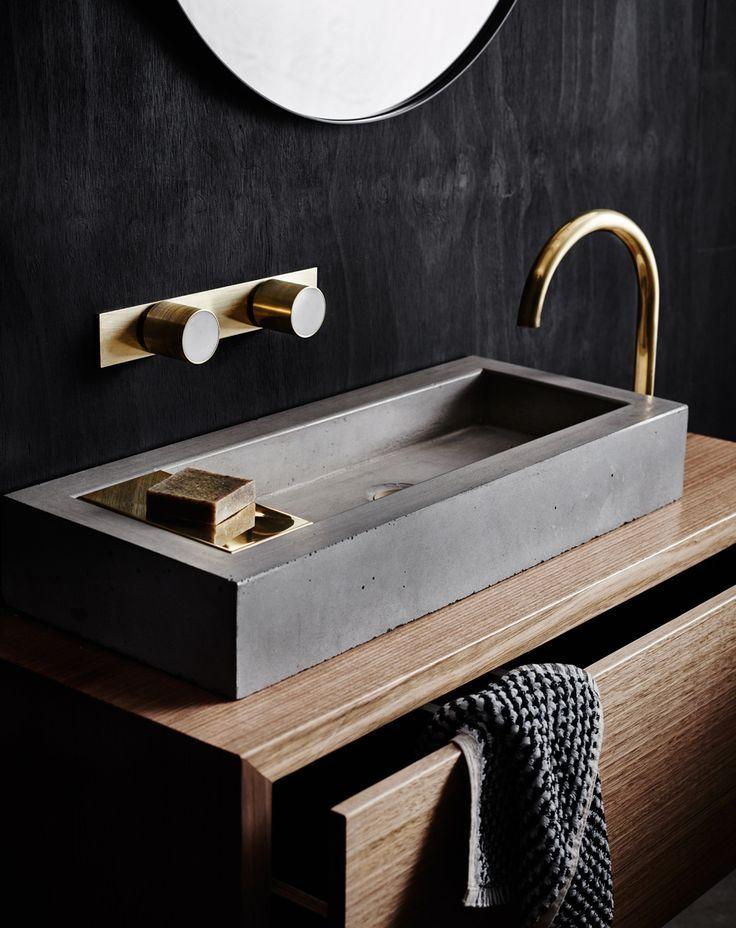 Coole ideen f r beton im bad strenge und gehobene for Badezimmer beton holz
