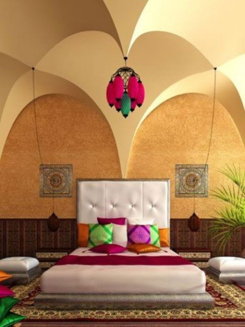 Marokkanisches Schlafzimmer Deckenwölbungen quadratisches Bett bunte Wurfkissen