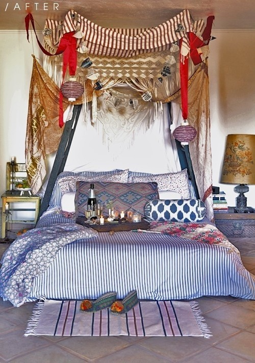 Marokkanisches Schlafzimmer in Boho Style alles bunt viele ethnische Deko Artikel