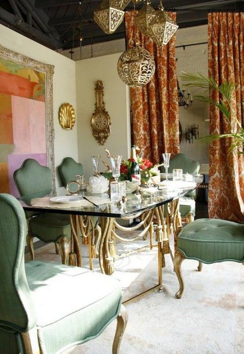 Boho Chic im Esszimmer eleganter Esstisch aus Glas