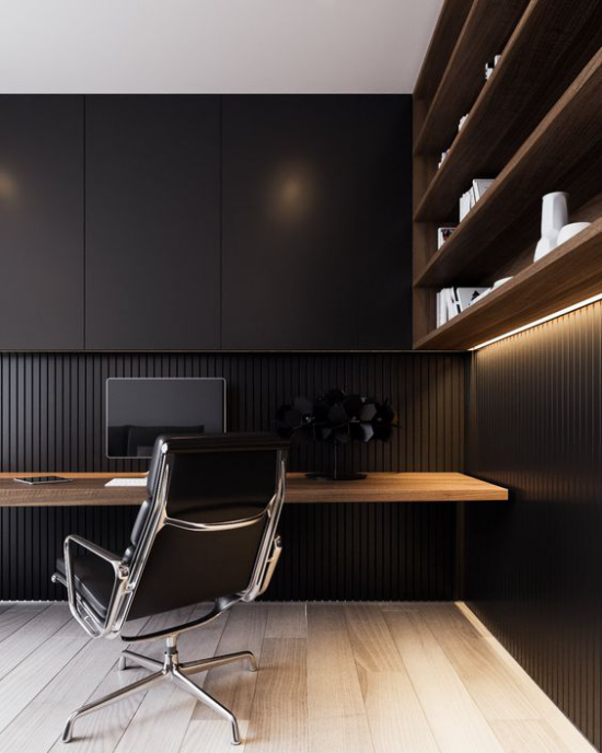 Farben fürs Heimbüro einfache aber stilvolle Einrichtung schwarz Holzfarbe eingebaute Beleuchtung