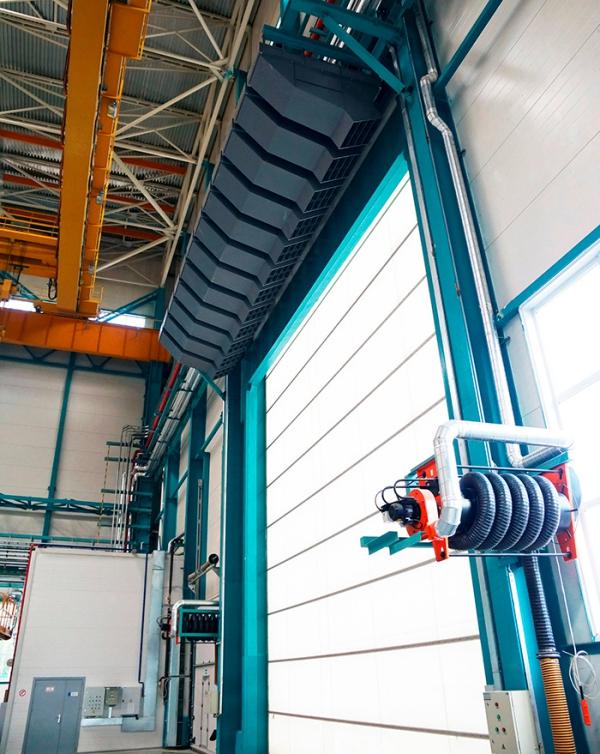 Luftschleier – Gute Klimazonentrennung im Betriebsbereich geht so firma vorhang über große tür