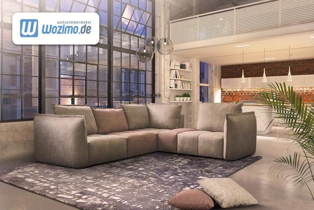 Sofa mit Schlaffunktion in Beige Deko Kissen ein toller Blickfang im Wohnzimmer