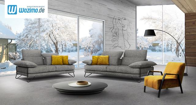 Sofa mit Schlaffunktion zwei Sofas in Grau gelbe Kissen Form Größe Farbe online wählen