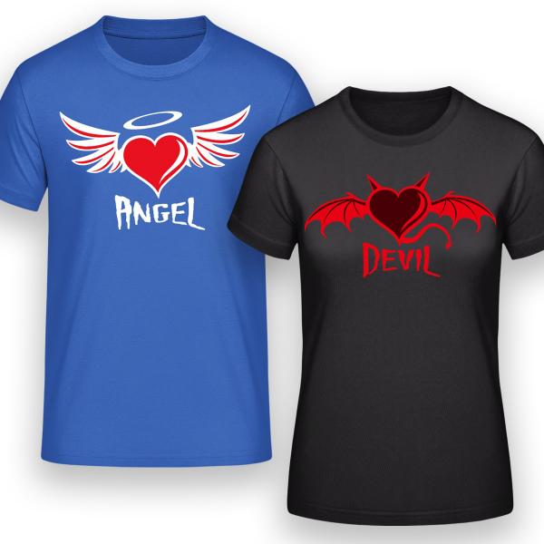 T-Shirt selbst gestalten im Partnerlook verschiedene Farben bedruckte Motive Gegensätze ziehen sich an