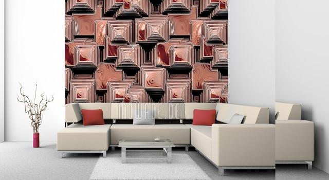 Design Tapeten Blickfang im Wohnzimmer geometrische Muster in verschiedenen Braunnuancen