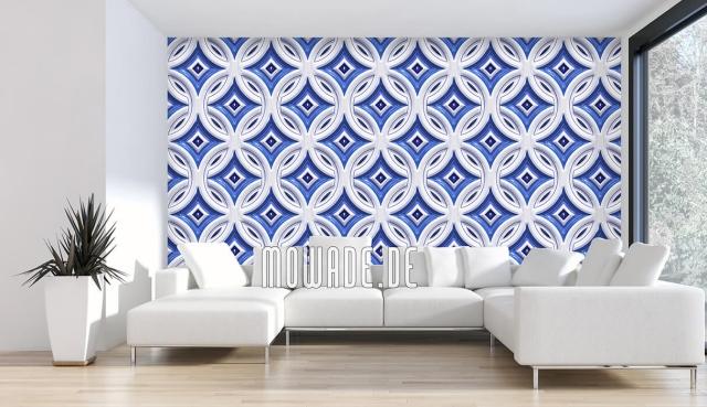 Design Tapeten Retro Muster in Blau und Weiß neu interpretiert